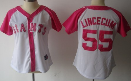 San Francisco Giants #55 Tim Lincecum 2012 Fashion Womens by Majestic Athletic Jersey
