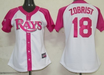 Tampa Bay Rays #18 Ben Zobrist 2012 Fashion Womens by Majestic Athletic Jersey