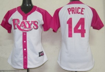 Tampa Bay Rays #14 David Price 2012 Fashion Womens by Majestic Athletic Jersey