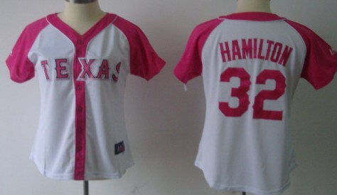 Texas Rangers #32 Josh Hamilton 2012 Fashion Womens by Majestic Athletic Jersey