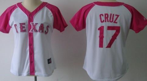 Texas Rangers #17 Nelson Cruz 2012 Fashion Womens by Majestic Athletic Jersey