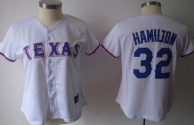 Texas Rangers #32 Hamilton White Womens Jersey