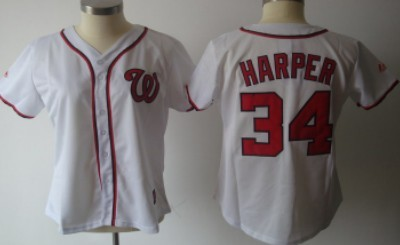 Washington Nationals #34 Harper White With Red Womens Jersey