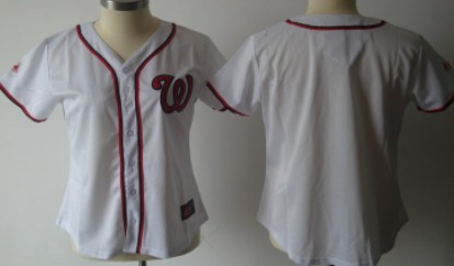Washington Nationals Blank White With Red Womens Jersey