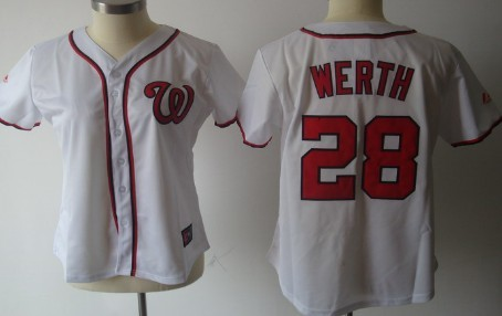 Washington Nationals #28 Werth White With Red Womens Jersey