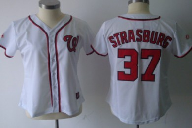Washington Nationals #37 Strasburg White With Red Womens Jersey