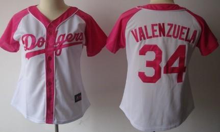 Los Angeles Dodgers #34 Fernando Valenzuela 2012 Fashion Womens by Majestic Athletic Jersey