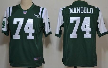 Nike New York Jets #74 Nick Mangold Green Game Jersey