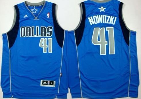 Dallas Mavericks #41 Dirk Nowitzki Revolution 30 Swingman Light Blue Jersey