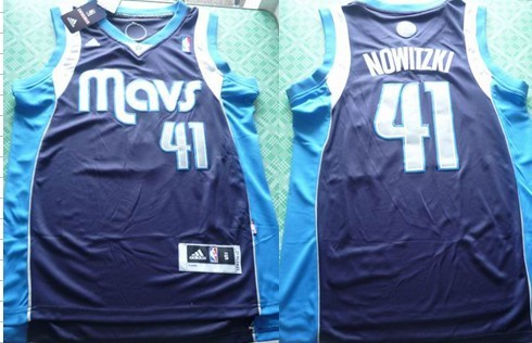 Dallas Mavericks #41 Dirk Nowitzki Revolution 30 Swingman Navy Blue Jersey
