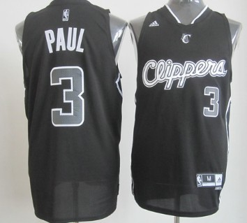 Los Angeles Clippers #3 Chris Paul Revolution 30 Swingman All Black With White Jersey