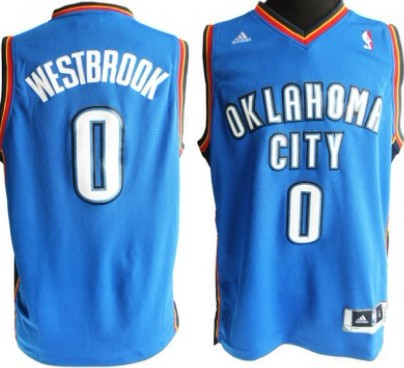 Oklahoma City Thunder #0 Russell Westbrook Revolution 30 Swingman Blue Jersey