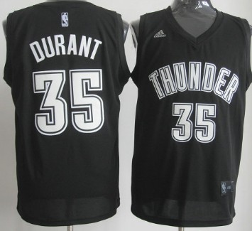 Oklahoma City Thunder #35 Kevin Durant Revolution 30 Swingman Black With White Jersey