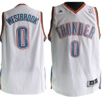 Oklahoma City Thunder #0 Russell Westbrook Revolution 30 Swingman White Jersey