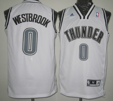 Oklahoma City Thunder #0 Russell Westbrook Revolution 30 Swingman White With Black Jersey