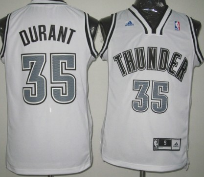 Oklahoma City Thunder #35 Kevin Durant Revolution 30 Swingman White With Black Jersey