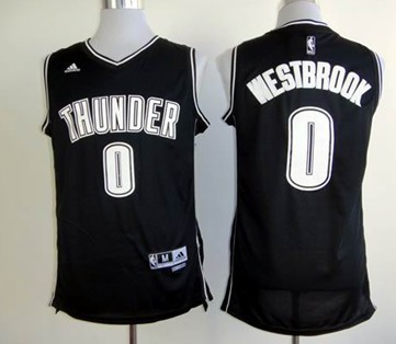 Oklahoma City Thunder #0 Russell Westbrook Revolution 30 Swingman Black With White Jersey