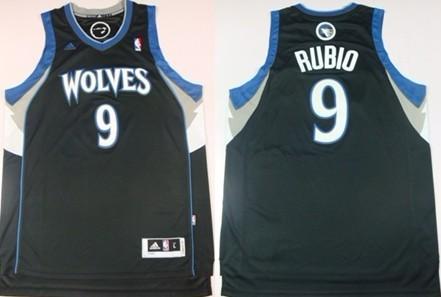 Minnesota Timberwolves #9 Ricky Rubio Revolution 30 Swingman Black Jersey