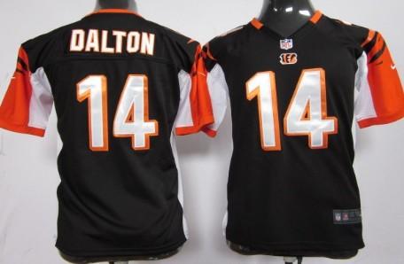Nike Cincinnati Bengals #14 Andy Dalton Black Game Kids Jersey