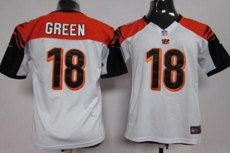 Nike Cincinnati Bengals #18 A.J. Green White Game Kids Jersey