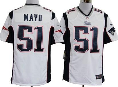 Nike New England Patriots #51 Jerod Mayo White Game Jersey