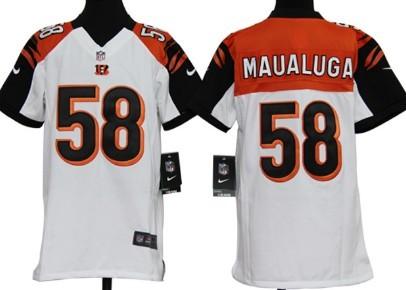 Nike Cincinnati Bengals #58 Rey Maualuga White Game Kids Jersey