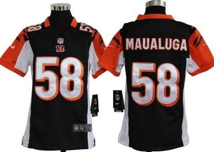 Nike Cincinnati Bengals #58 Rey Maualuga Black Game Kids Jersey