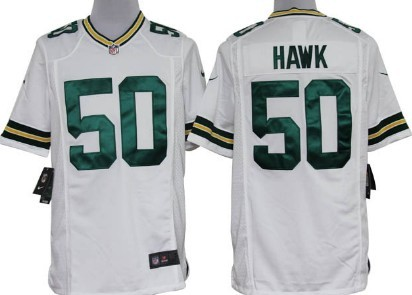 Nike Green Bay Packers #50 A.J. Hawk White Game Jersey