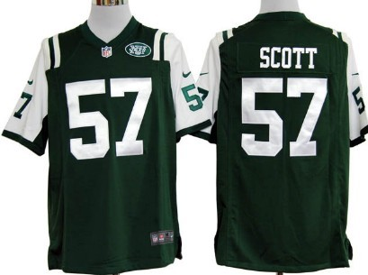 Nike New York Jets #57 Bart Scott Green Game Jersey