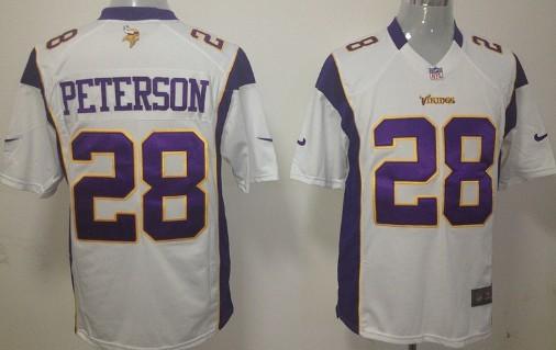 Nike Minnesota Vikings #28 Adrian Peterson White Game Jersey