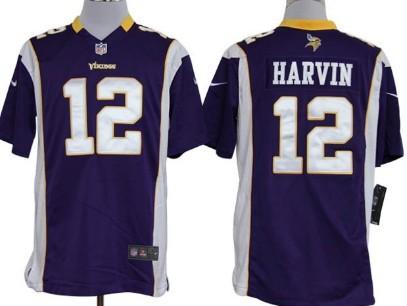Nike Minnesota Vikings #12 Percy Harvin Purple Game Jersey