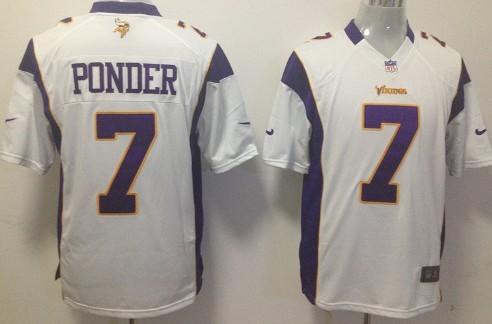Nike Minnesota Vikings #7 Christian Ponder White Game Jersey