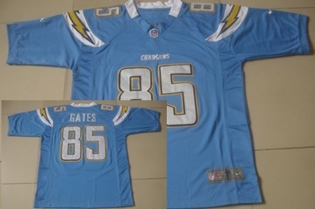 Nike San Diego Chargers #85 Antonio Gates Light Blue Game Jersey