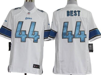 Nike Detroit Lions#44 Jahvid Best White Game Jersey