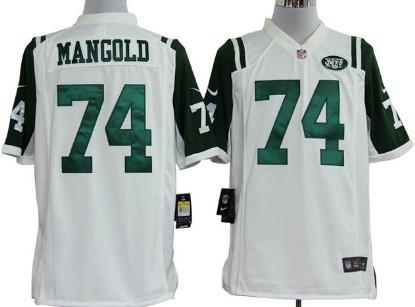 Nike New York Jets #74 Nick Mangold White Game Jersey