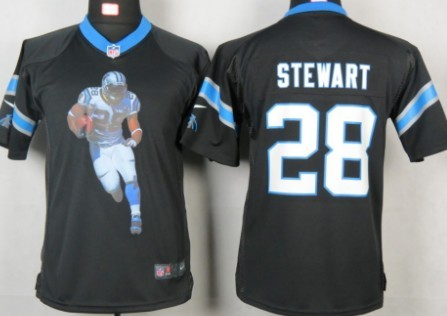 Nike Carolina Panthers #28 Jonathan Stewart Printed Portrait Black Kids Jersey