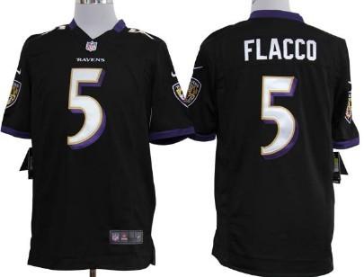 Nike Baltimore Ravens #5 Joe Flacco Black Game Jersey