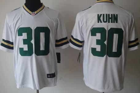 Nike Green Bay Packers #30 John Kuhn White Game Jersey