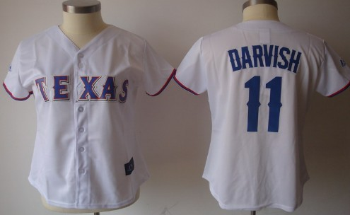 Texas Rangers #11 Yu Darvish White With Blue Womens Jersey