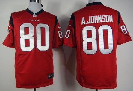 Nike Houston Texans #80 Andre Johnson Red Game Jersey