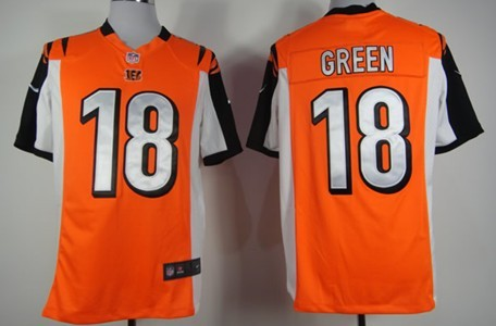 Nike Cincinnati Bengals #18 A.J. Green Orange Game Jersey