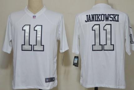 Nike Oakland Raiders #11 Sebastian Janikowski White With Silvery Game Jersey