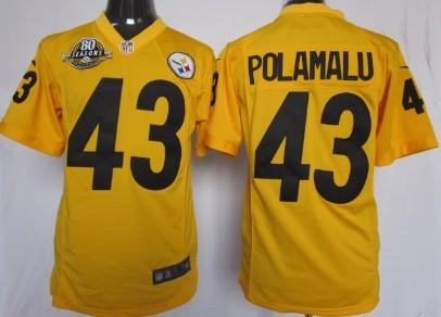 Nike Pittsburgh Steelers #43 Troy Polamalu Yellow Game 80TH Jersey