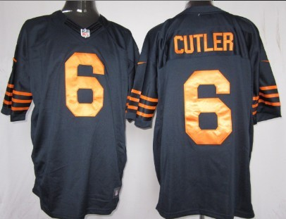 Nike Chicago Bears #6 Jay Cutler Blue With Orange Game Jersey