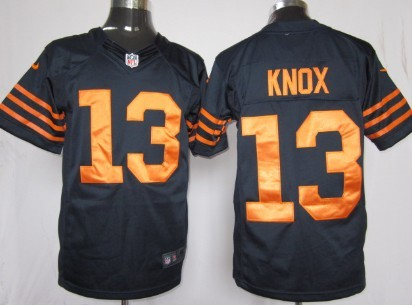 Nike Chicago Bears #13 Johnny Knox Blue With Orange Game Jersey