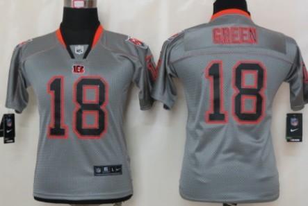 Nike Cincinnati Bengals #18 A.J. Green Lights Out Gray Kids Jersey