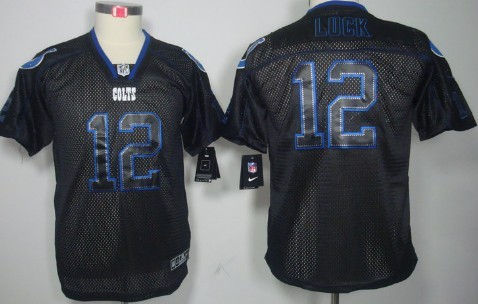 Nike Indianapolis Colts #12 Andrew Luck Lights Out Black Kids Jersey
