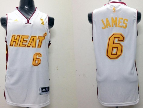 Miami Heat #6 LeBron James Revolution 30 Swingman White With Gold Jersey