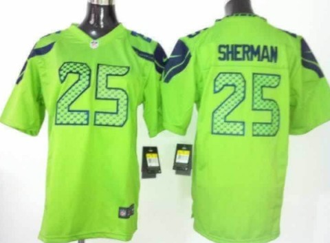 Nike Seattle Seahawks #25 Richard Sherman Green Game Jersey