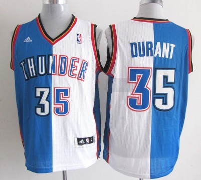 Oklahoma City Thunder #35 Kevin Durant Revolution 30 Swingman Blue And White Split Jersey